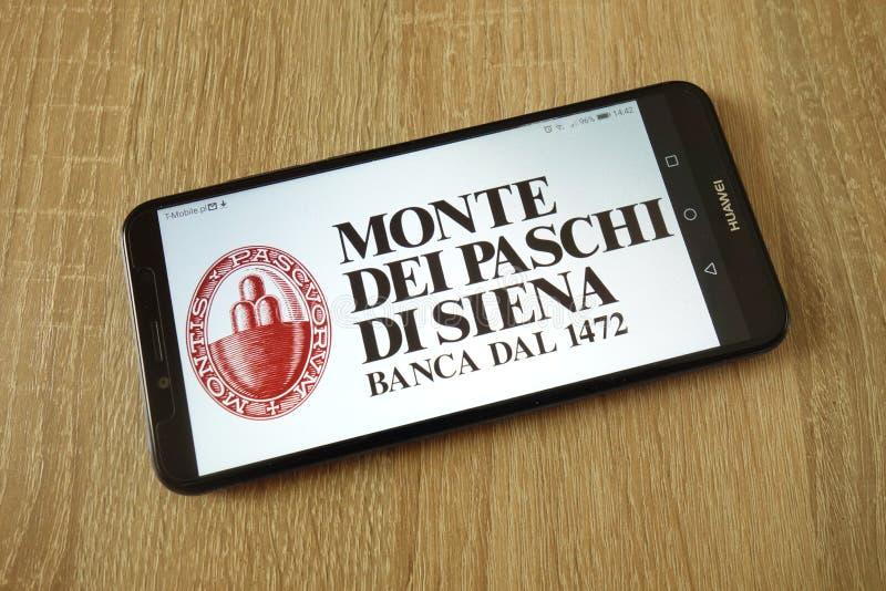 Banca Monte dei Paschi di Siena S P A embleem op smartphone wordt getoond die royalty-vrije stock afbeeldingen