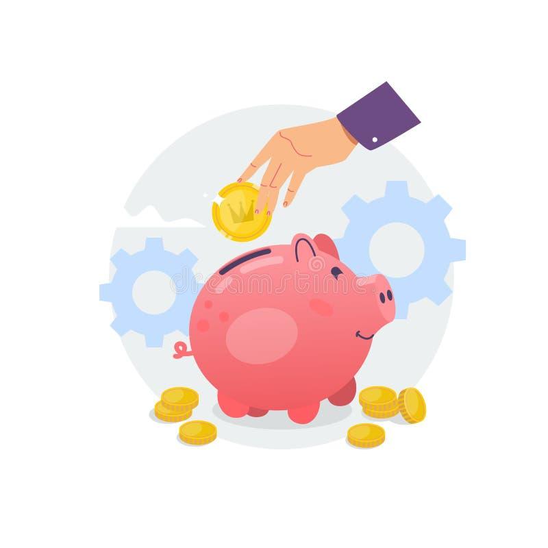 Banca Piggy e mano con la moneta Illustrazione piana di vettore royalty illustrazione gratis