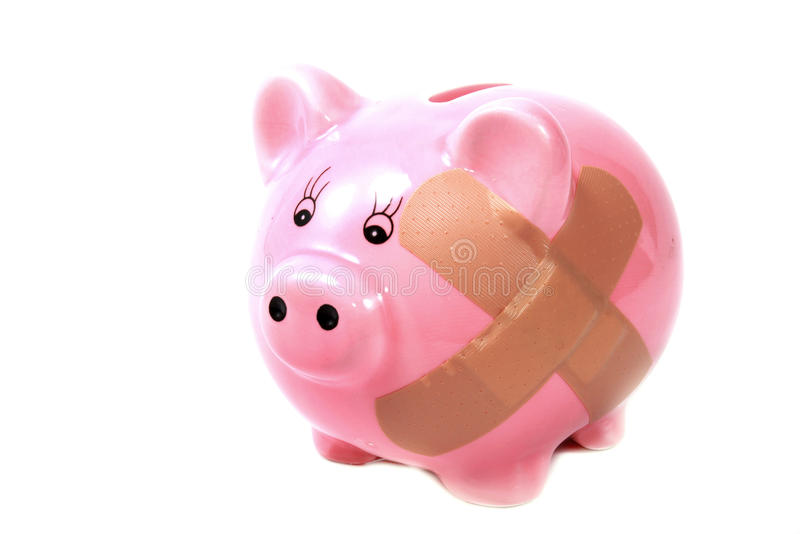 Banca piggy Hurt immagine stock