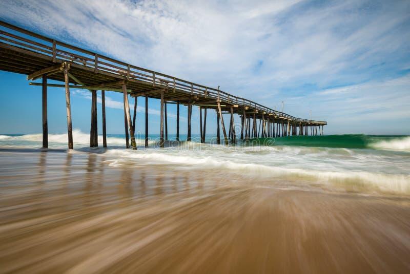 Banche esterne Carolina Nags del nord di vista sul mare della spiaggia dell'Oceano Atlantico fotografie stock libere da diritti