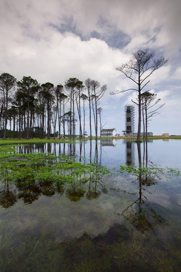 Banche esterne NC dell'isola del Bodie di ripristino del faro fotografia stock libera da diritti
