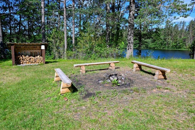 Banchi intorno ad un posto del fuoco in una foresta svedese fotografia stock