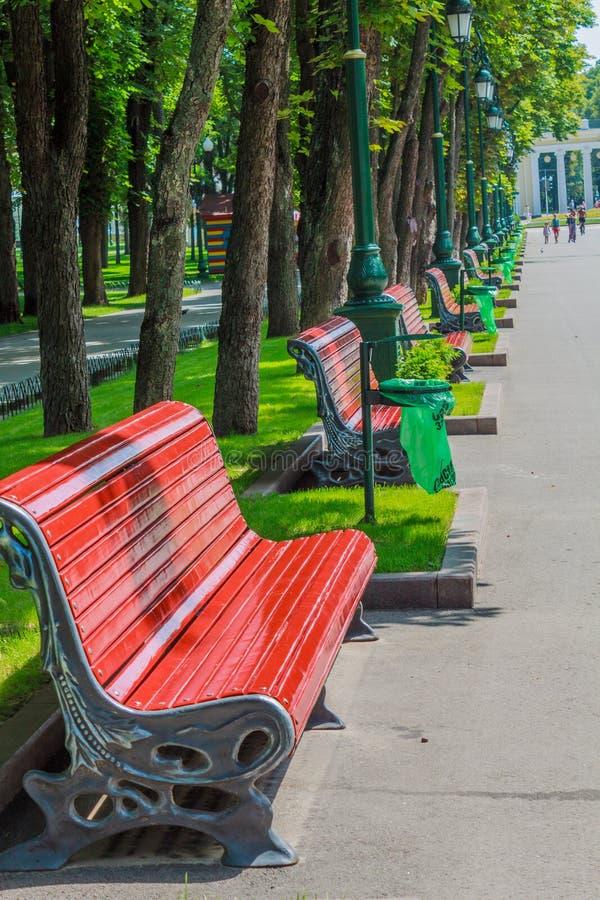 banchi in un parco della città fotografie stock