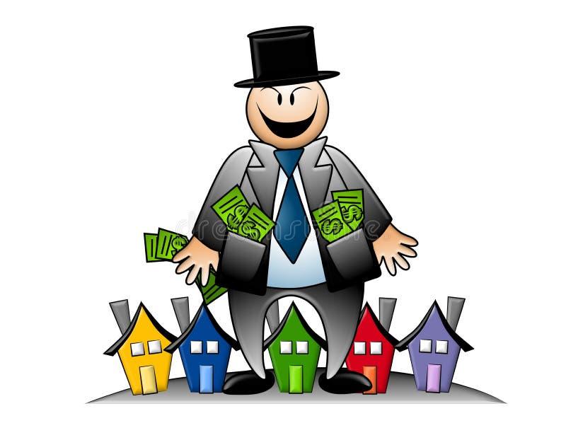 Banchiere avido con soldi e le Camere royalty illustrazione gratis
