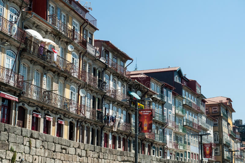 Banchina di Ribeira a Oporto fotografie stock libere da diritti
