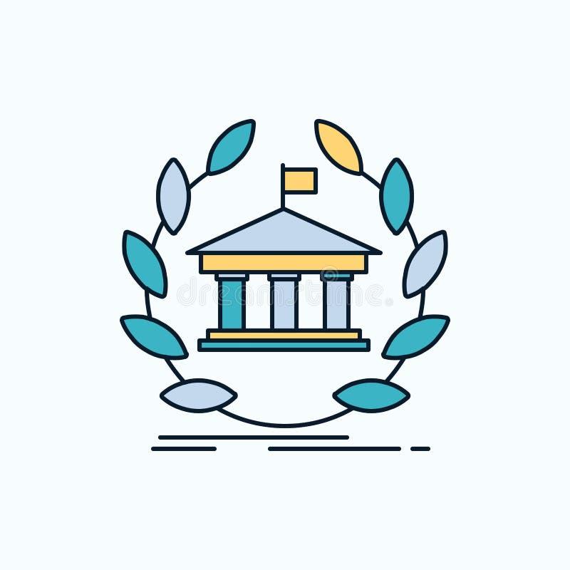 banco, actividades bancarias, en línea, universidad, edificio, icono plano de la educación muestra y s?mbolos verdes y amarillos  ilustración del vector