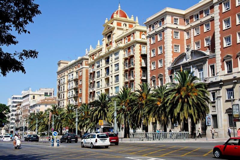 Banco ao longo da estrada principal, Malaga. fotografia de stock royalty free