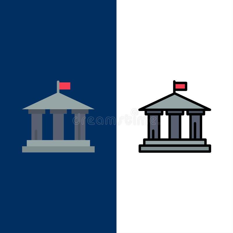 Banco, bandeira, americano, ícones dos EUA O plano e a linha ícone enchido ajustaram o fundo azul do vetor ilustração stock