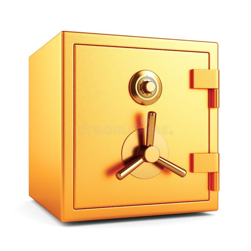 Banco bloqueado del metal seguro en el fondo blanco stock de ilustración