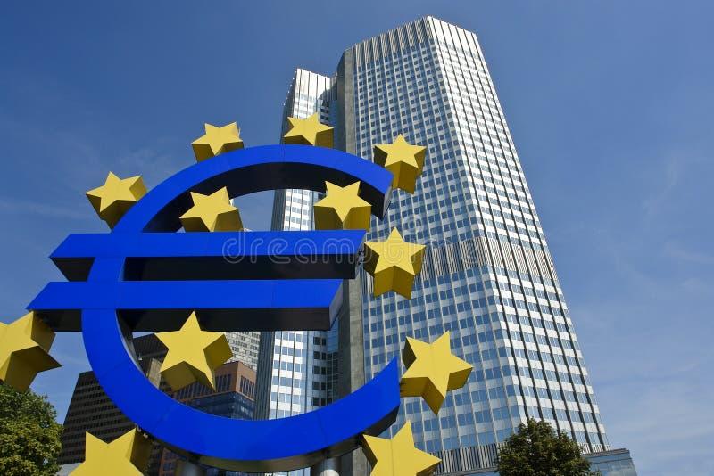 Banco Central Europeo con la muestra euro, Francfort fotografía de archivo libre de regalías