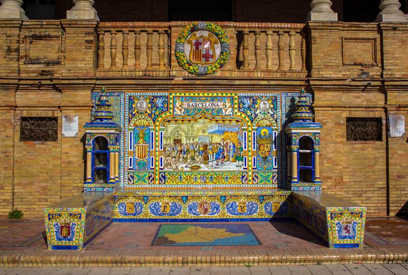 Banco cerâmico em Plaza de Espana em Sevilha, Espanha fotografia de stock royalty free