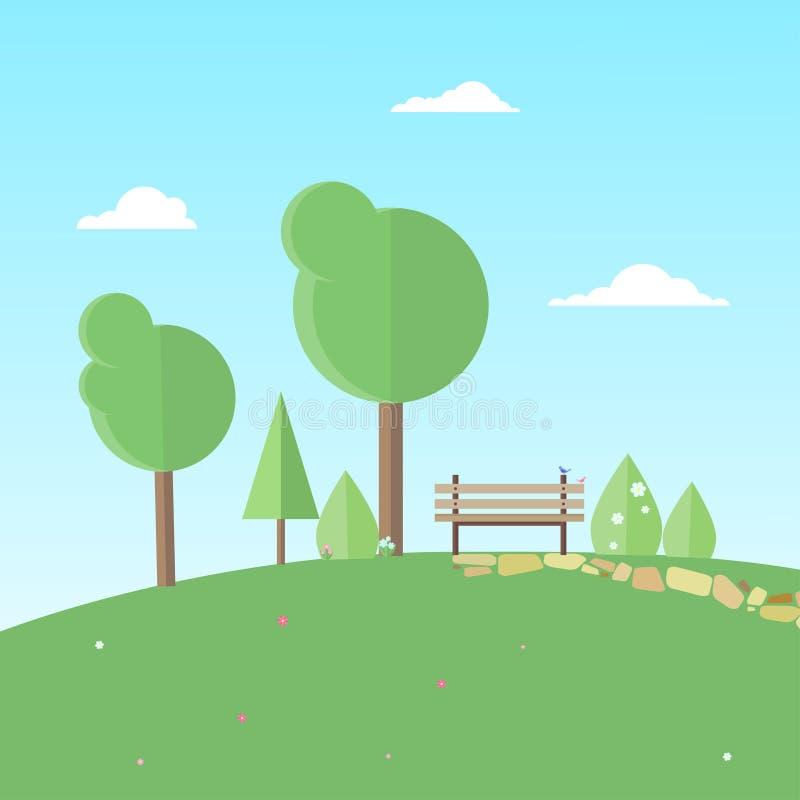 Banco cercado por árvores, por arbustos e por flores ilustração do vetor