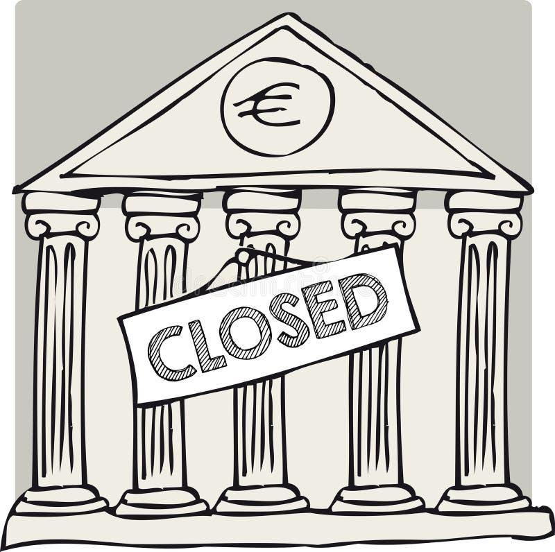 Banco cerrado griego stock de ilustración