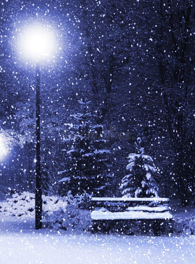 Banco, christmastree e lanterna fotografia stock libera da diritti