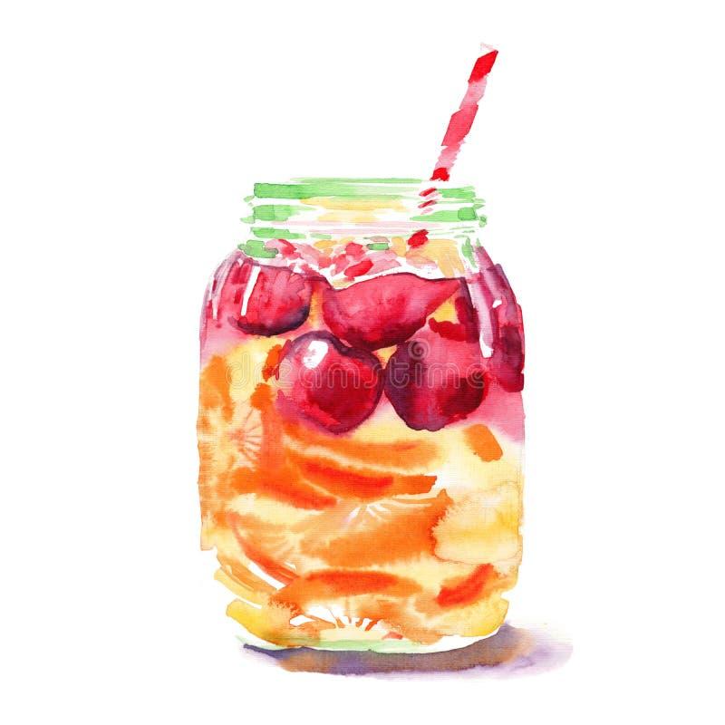 Banco colorido bonito bonito delicioso suculento saboroso fresco brilhante bonito da desintoxicação com cerejas vermelhas, as lar ilustração stock