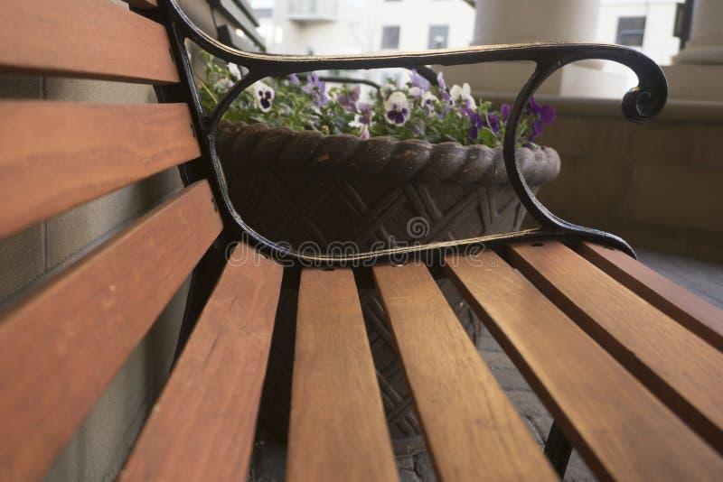 banco com flores imagem de stock