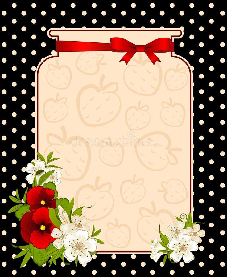 Banco com morango e flores ilustração stock