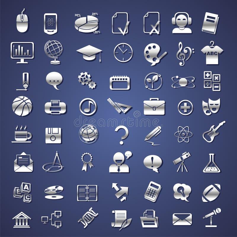 Banco d'argento, istituto universitario, icone di formazione illustrazione vettoriale