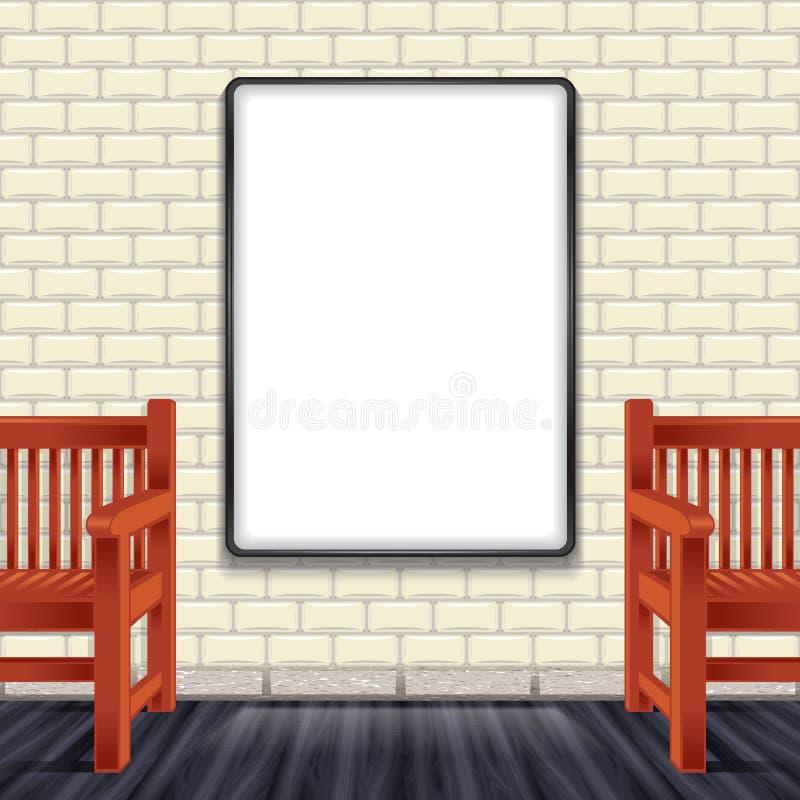 Banco da parede interior do modelo ilustração stock