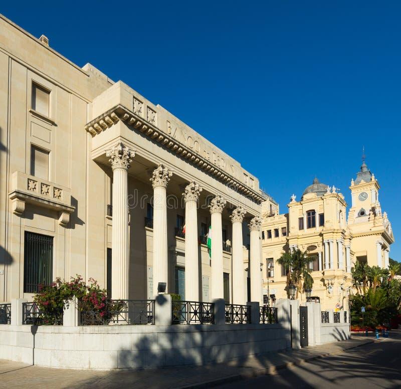 Banco de西班牙和市政厅在马拉加 免版税库存图片