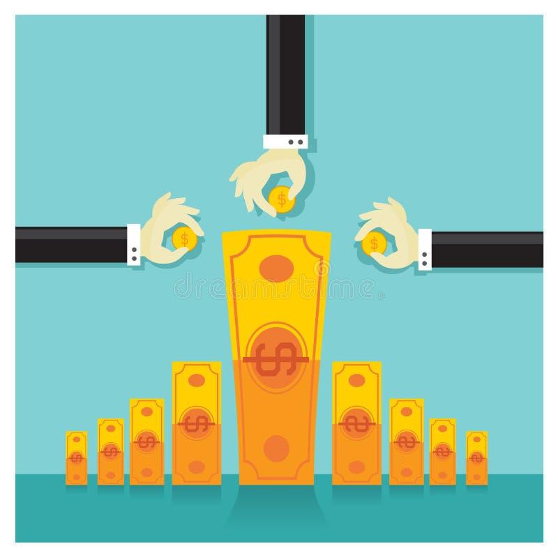 Banco de ahorros rico del dinero de la inversión del vector del negocio stock de ilustración