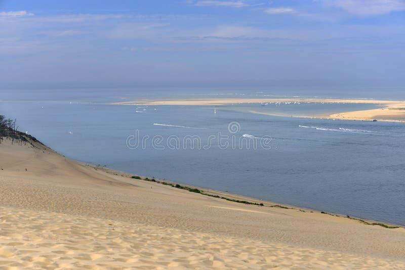 Banco de Arguin visto de la duna de Pilat foto de archivo libre de regalías