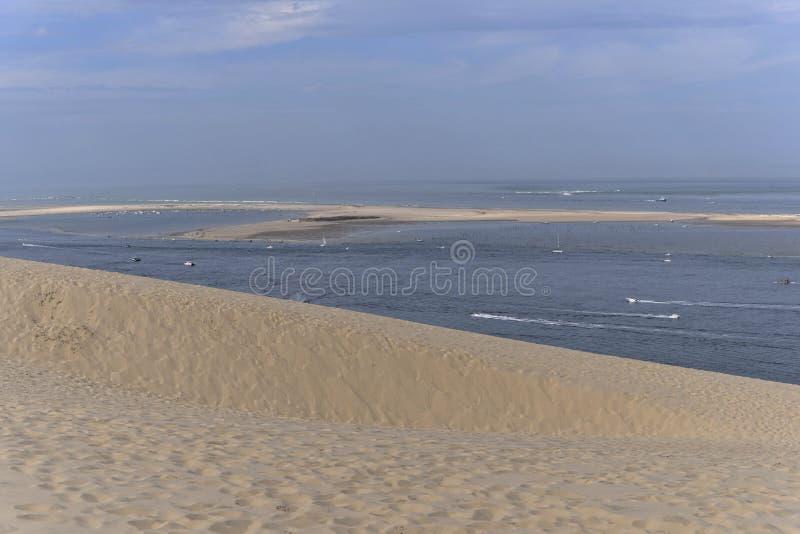 Banco de Arguin visto de la duna de Pilat imagen de archivo