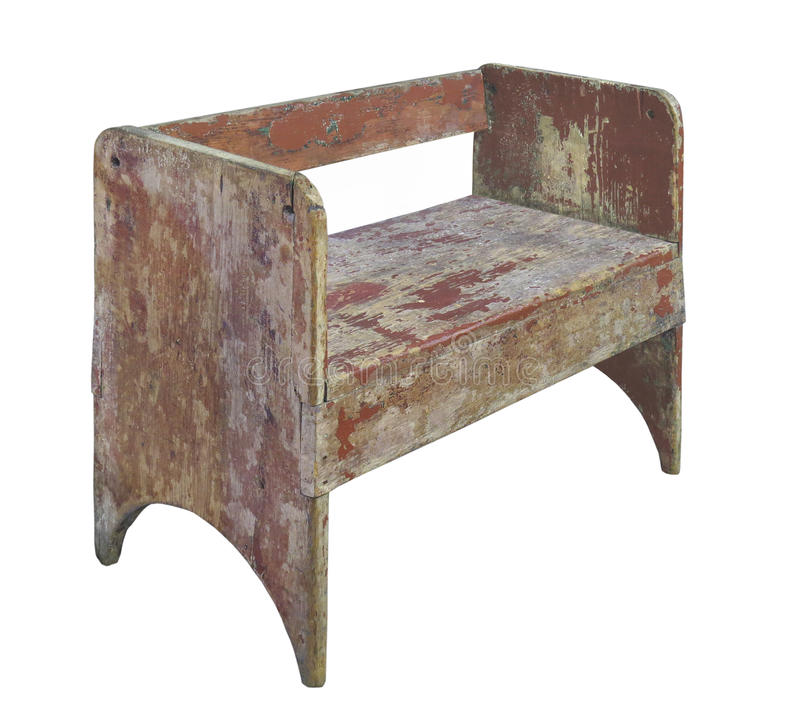 Banco de assento de madeira rústico isolado fotografia de stock