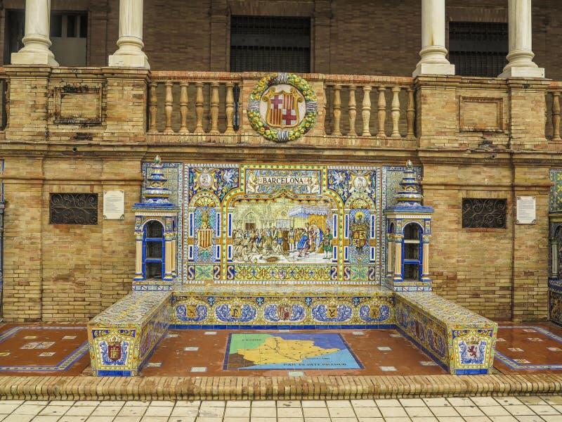 Banco de cerámica Sevilla de Barcelona foto de archivo libre de regalías