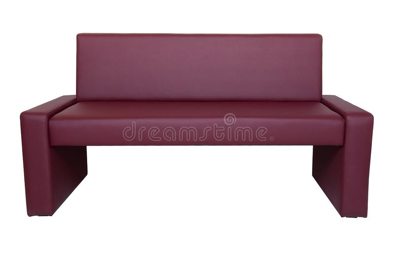 Banco de cuero rojo moderno inusual aislado en el fondo blanco Muebles estrictos del estilo foto de archivo libre de regalías