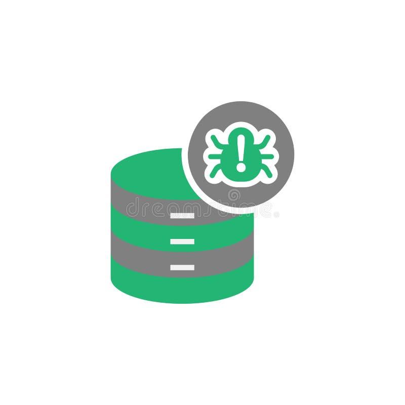 Banco de dados, ícone do vírus Elemento do ícone do Cyber e da segurança para apps móveis do conceito e da Web O banco de dados d ilustração stock