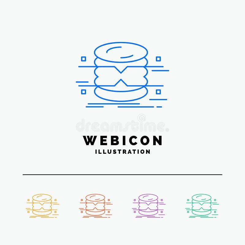 banco de dados, dados, arquitetura, infographics, linha de cor molde da monitoração 5 do ícone da Web isolado no branco Ilustra?? ilustração stock
