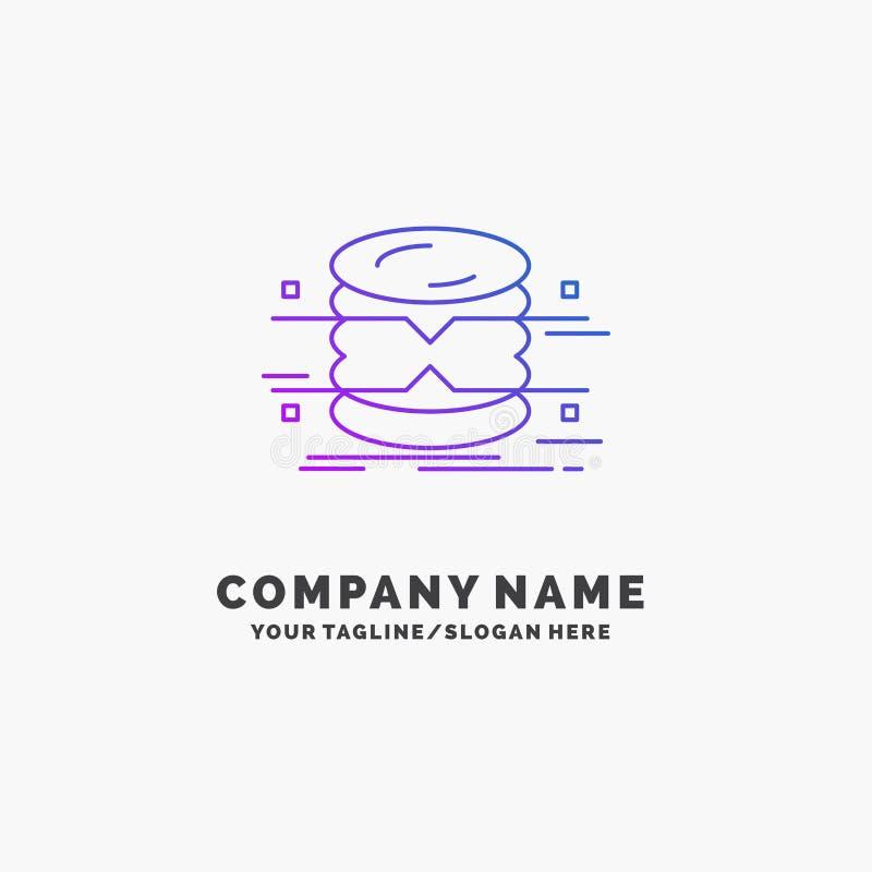 banco de dados, dados, arquitetura, infographics, monitorando o negócio roxo Logo Template Lugar para o Tagline ilustração royalty free
