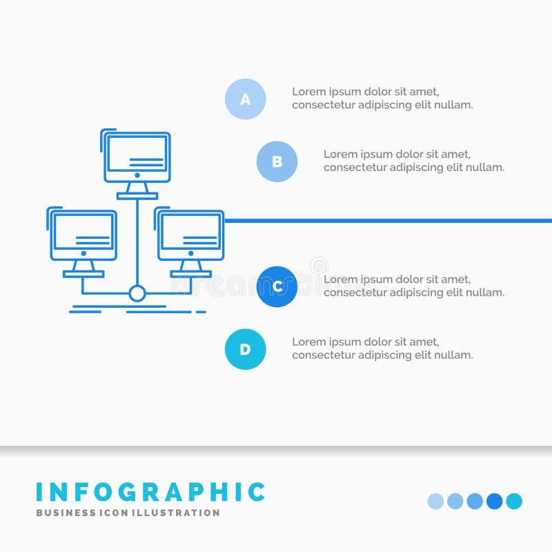 banco de dados, distribu?do, conex?o, rede, molde de Infographics do computador para o Web site e apresenta??o Linha ?cone azul ilustração royalty free