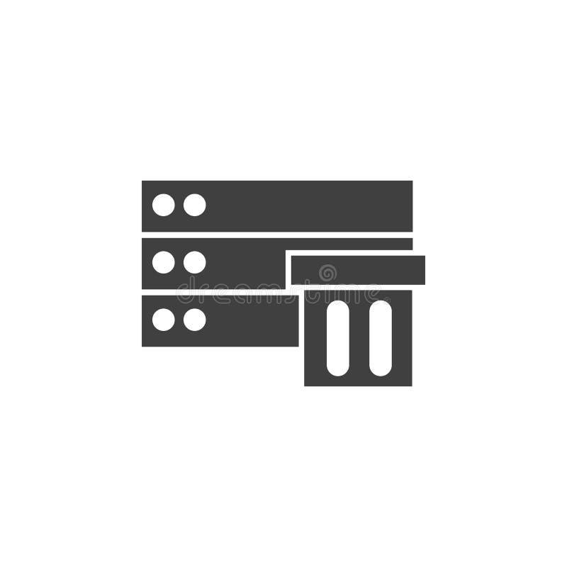 Banco de dados, servidor, ícone do vetor do armazenamento Elemento dos dados para a ilustra??o m?vel dos apps do conceito e da We ilustração do vetor