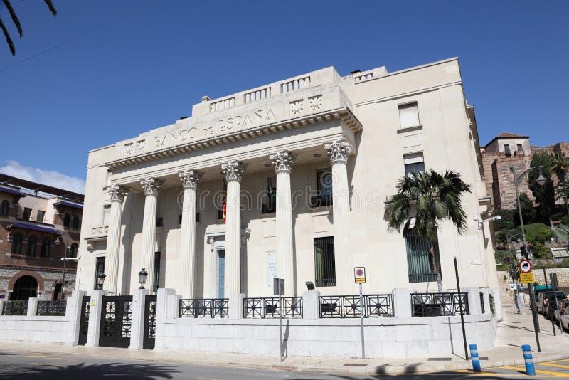 Banco de España en Málaga, España fotografía de archivo
