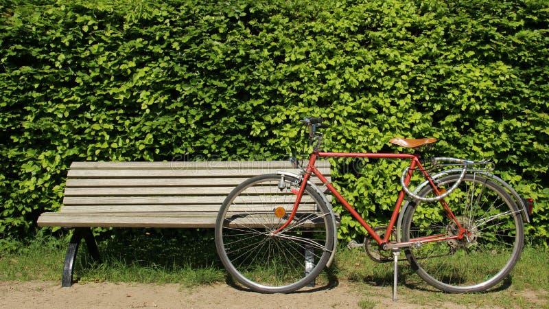 Banco de madeira com a uma bicicleta velha fotografia de stock