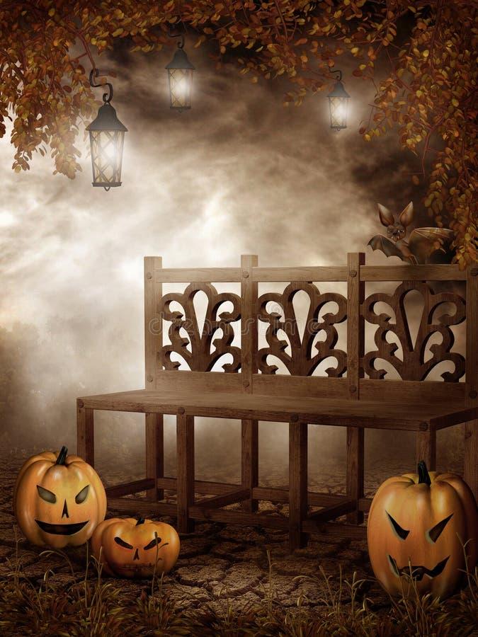 Banco de madeira e abóboras de Halloween ilustração stock