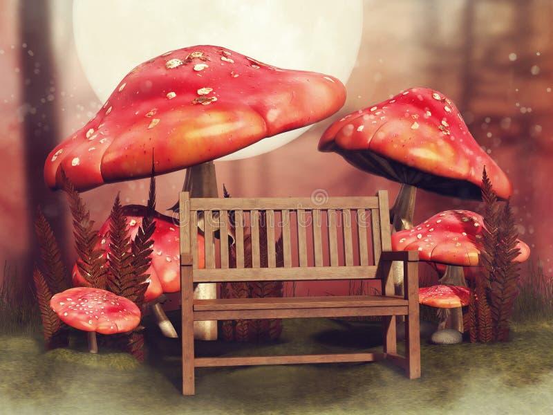 Banco de madeira e cogumelos feericamente ilustração royalty free