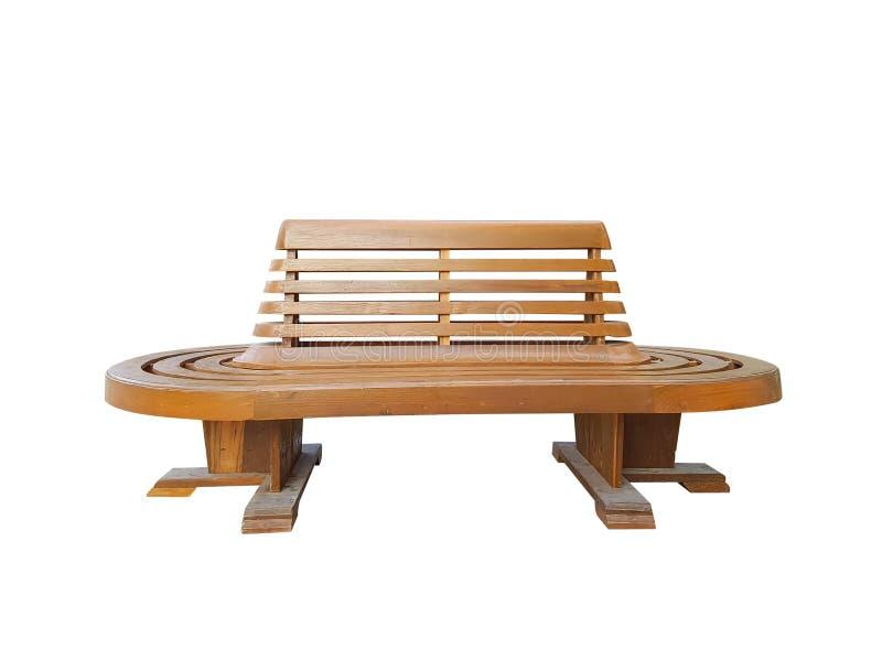 Banco de madeira isolado no fundo branco com trajeto de grampeamento cadeira de espera do banco de madeira para o trem na estação imagem de stock