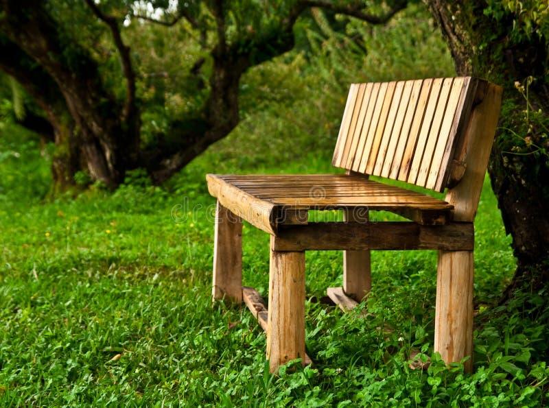 Banco de madeira no jardim imagens de stock