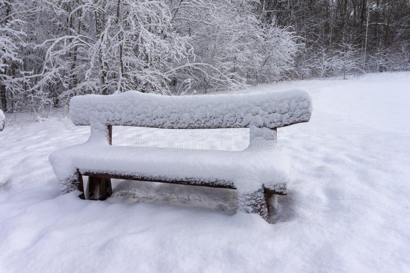 Banco de madeira rústico coberto de neve em um parque do inverno fotos de stock
