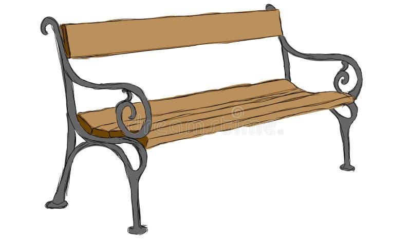 Banco de madera dibujado mano del vector libre illustration