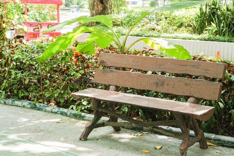 Banco De Madera Para Sentarse En Parque Público Foto de archivo ...