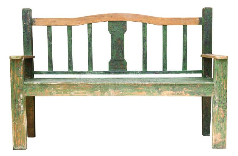 Banco de madera verde aislado en el fondo blanco foto de archivo libre de regalías