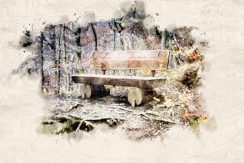 Banco de madera viejo resistido en el bosque stock de ilustración