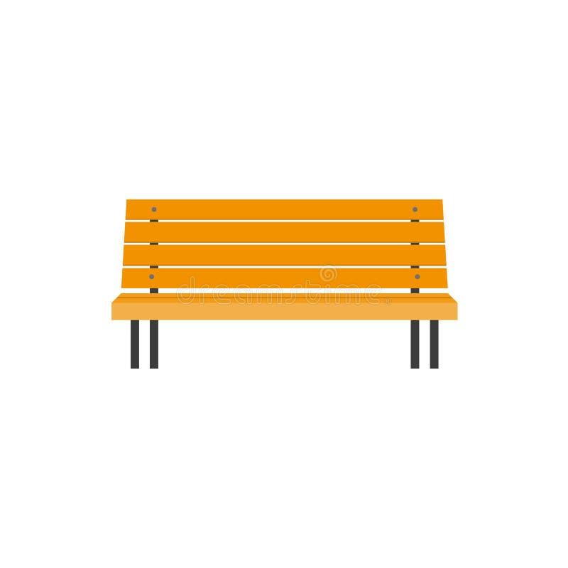Banco de parque de madera del estilo plano estilizado, vista delantera stock de ilustración