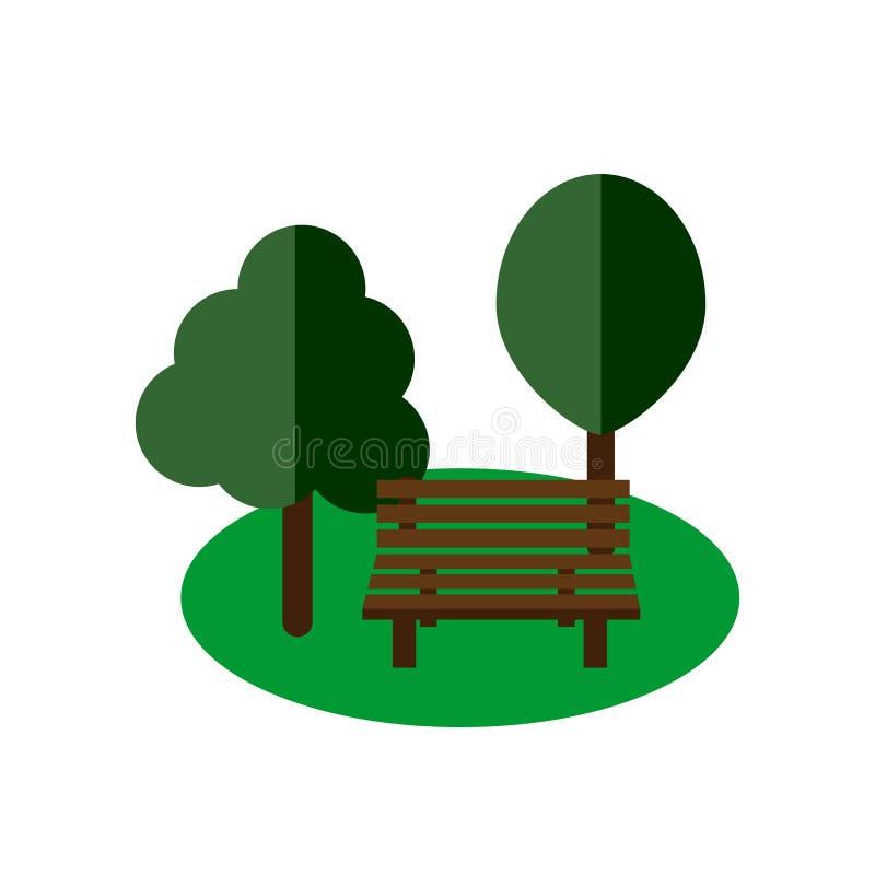 Banco de parque plano stock de ilustración