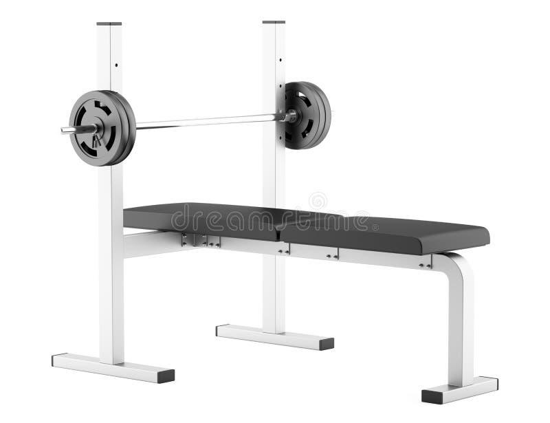 Banco de peso liso do Gym com o barbell isolado no branco ilustração do vetor