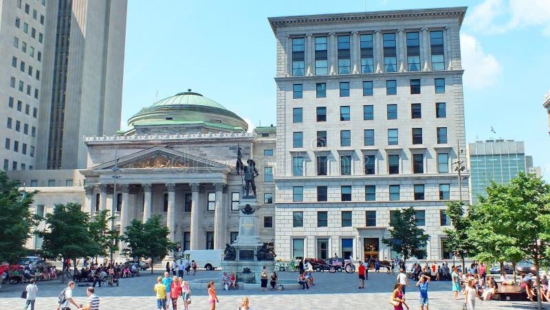 Banco del museo de Montréal, lugar d 'Armes, Montreal foto de archivo libre de regalías